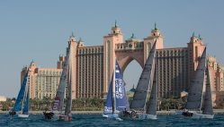 EFG Bank Sailing Arabia The Tour 2016. Dubai. UAE Pictures of the fleet training close to the city today prior to the start of the 2016 race. Image licensed to Lloyd Images