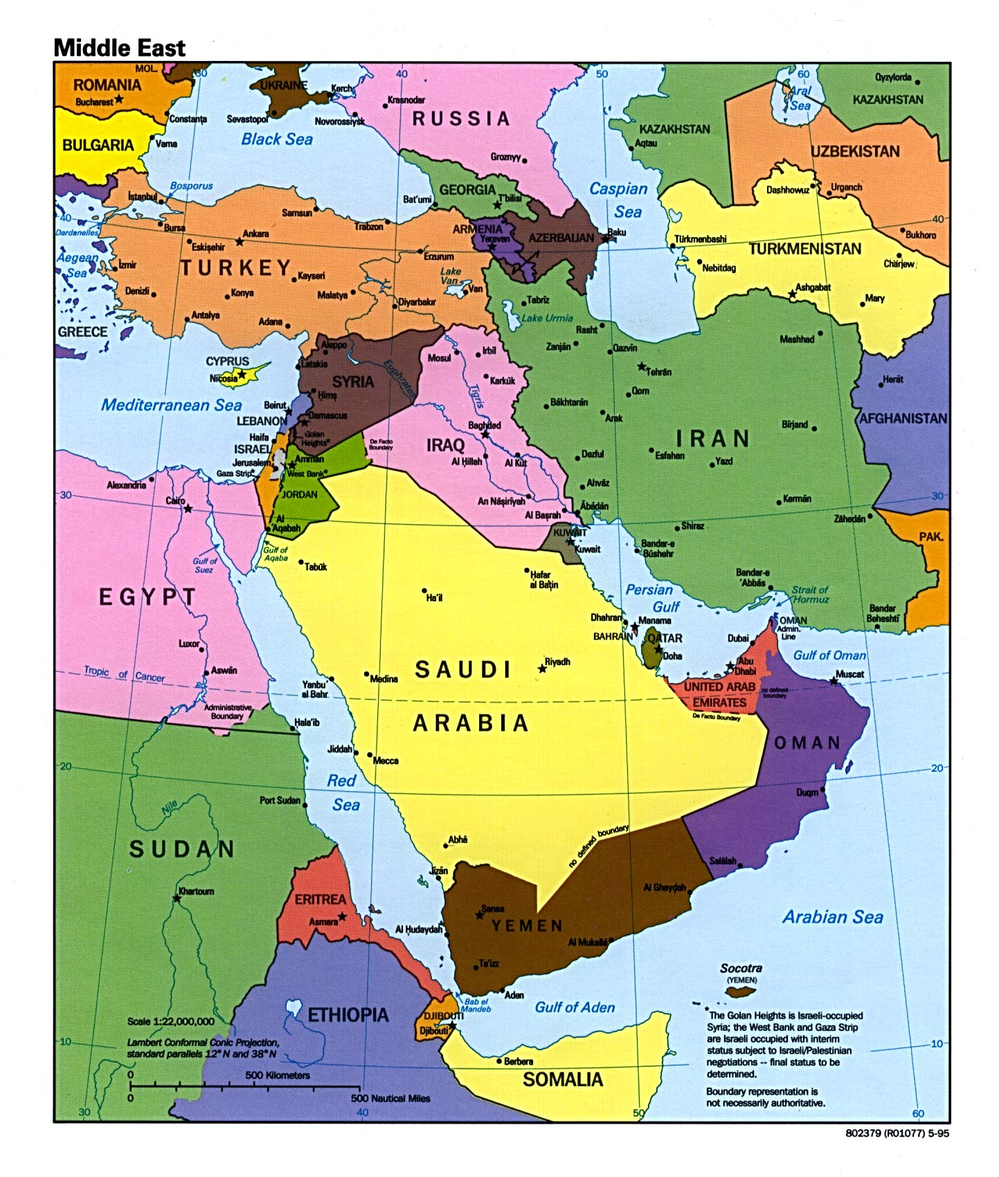 map test of middle east