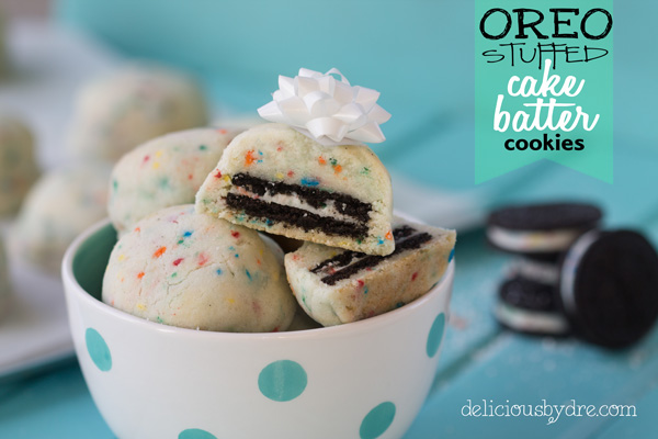 oreo stuffed cake-batter cookies | delicious by dre
