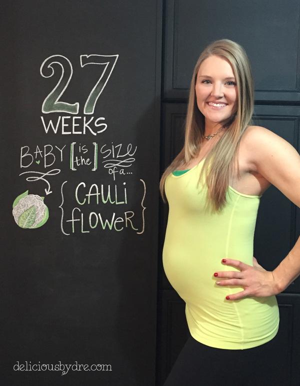 week 27 pregnancy chalkboard tracker