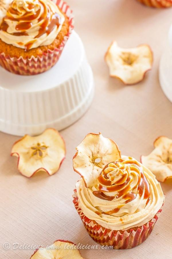Salted Caramel Apple Cupcakes #recipe | via deliciouseveryday.com