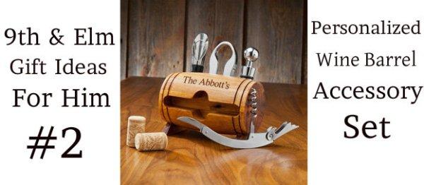 9th & Elm Personlalized Wine Barrel Accessory Set