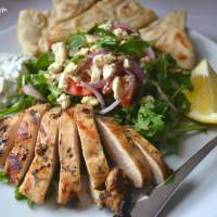 Deconstructed Grilled Chicken Gyros with Arugula Greek Salad