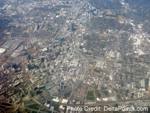 Flying over downtown Atlanta delta points blog