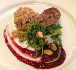 Bison Brisket Sausage, Oregano Farro Risotta, Blueberry Guava Glaze, Arugila Pistachio Blueberry salad