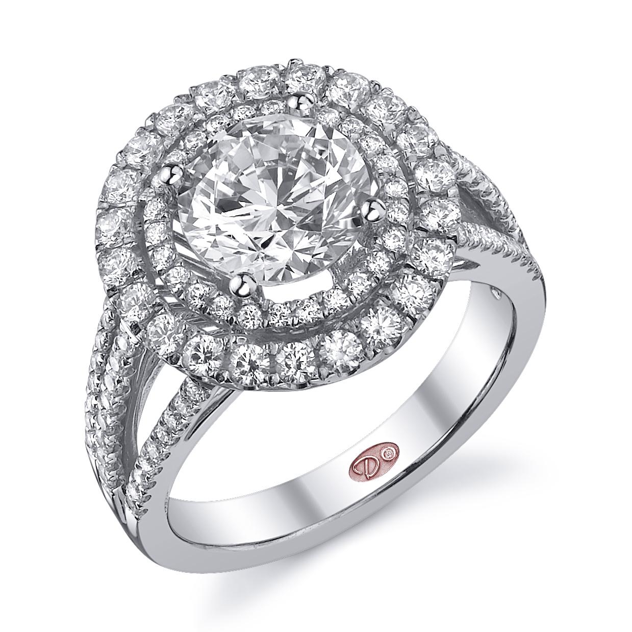 double halo engagement ring halo wedding ring Style DW