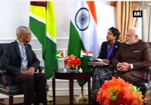 President David Granger and the Prime Minister of India, Narendra Modi meeting in New York in September, 2015.