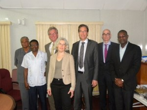FLASH BACK: Minister of Public Infrastructure, David Patterson (at left) with members of the Dutch Risk Reduction team in November, 2015.