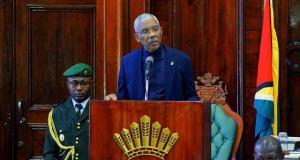 President David Granger addressing Parliament on Thursday, January 14, 2016.