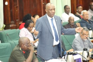DEFENDING THE MILITIA: Minister of State, Joseph Harmon responding to a question from the opposition in the National Assembly during the consideration of the 2016 budgetary estimates of expenditure.