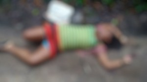 A blurred image of the murder victim