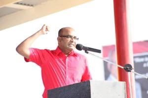 Opposition Leader, Bharrat Jagdeo addressing People's Progressive Party faithful at Babu John, Port Mourant, Corentyne.