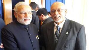 India's Prime Minister, Narendra Modi and then President of Guyana, Donald Ramotar.
