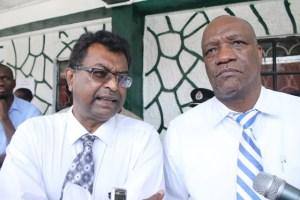 Leader of the Alliance For Change (AFC), Khemraj Ramjattan and Minister of State, Joseph Harmon.