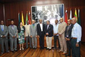 Minister of Communities, Ronald Bulkan; President David Granger and Prime Minister Moses Nagamootoo with the recently-elected mayors of Guyana's nine towns.