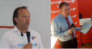 "GTT""s Chief Commercial Officer, Gert Post and CEO of Digicel (Guyana), Kevin Kelly."