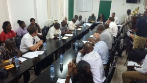 Delegations of Bauxite Company of Guyana Inc/ Russian Aluminium and the Guyana government locked in talks on worker' grievances.