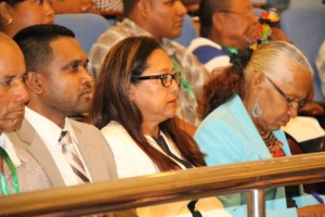 The opposition PPP-Civic's parliamentary spokespersons on Amerindian Affairs: Nigel Dharamlall, Pauline Sukhai and Yvonne Pearson at the opening of the 2016 National Toshaos Council Conference at the Arthur Chung Conference Centre.