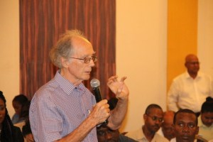 Co Chairman of the Guyana Human Rights Association, Mike Mc Cormack speaking at the public consultation on the State Asset Recovery Bill.