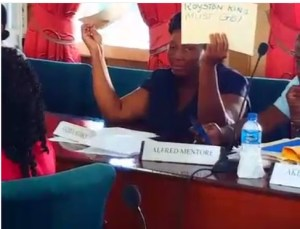 APNU+AFC Councillor, Andreia Marks calling for the Town Clerk, Royston King to go as she sat at Tuesday's (September 13, 2016) Statutory Meeting.
