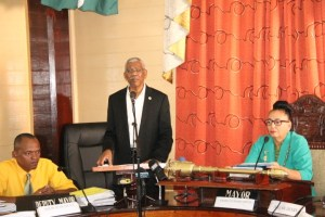 FLASH BACK: President David Granger flanked by Deputy Mayor, Sherod Duncan and Mayor Patricia Chase-Green during the Guyanese leader's address to Councillors earlier this year.