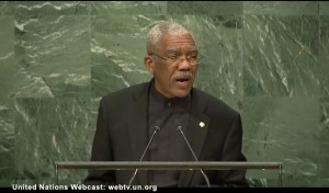 President David Granger addressing the 71st session of the United Nations General Assembly on September 20, 2016.