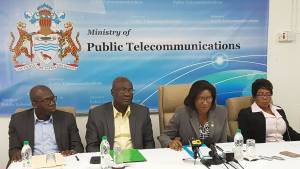 Left to right: Manager of the Ministry of Public Security Citizen Security Project, Clement Henry; Head of Guyana's E-Government Unit;  Minister of Public Telecommunications, Catherine Hughes, and Public Relations Officer of that ministry, Marjorie Chester.