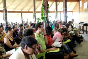 Attendees at the launch of the WWF-Guianas-North Rupununi District Development Board (NRDDB) Opt-in Readiness Project at Bina Hill, Annai, North Rupununi. (Bram Kloos Photography)
