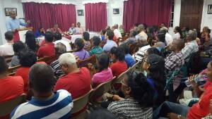 Opposition Leader, Bharrat Jagdeo (at lectern) addressing a gathering at a PPP-organised public forum to mark Guyana's return to democracy on October 5, 1992 when the first free and fair general election in almost 30 years was held.
