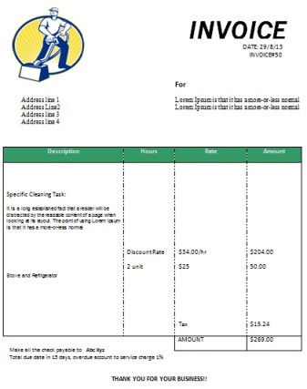 cleaning invoice form printable