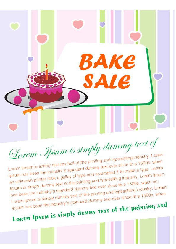 engaging free bake sale flyer templates for fundraising events demplates. Black Bedroom Furniture Sets. Home Design Ideas