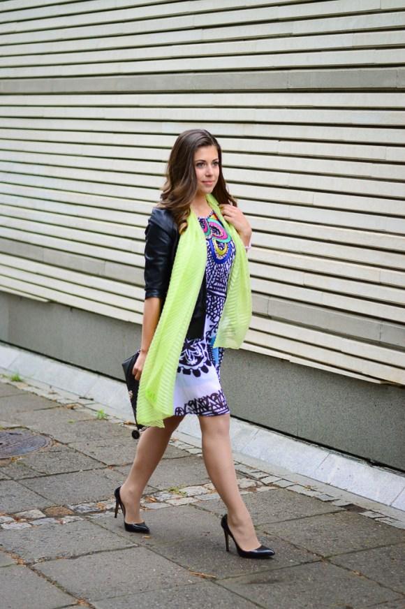 Denina Martin wearing the Desigual dress Adriana Lima was wearing on NYWF