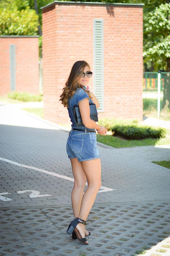 Denina Wearing Denim Romper by Gas Jeans