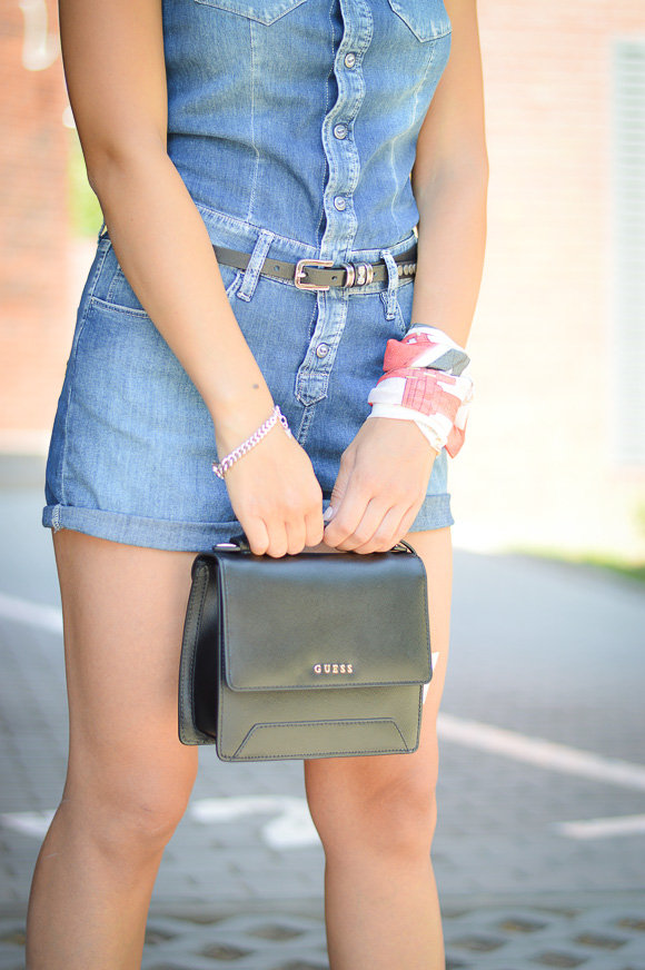 Guess Mini Bag in Black Leather Styled by Denina Martin