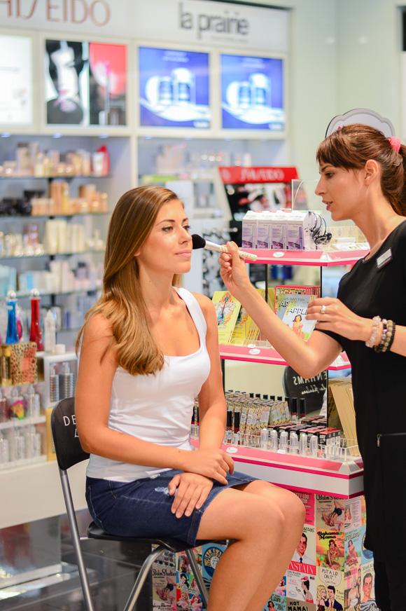 Denina Martin at a make-up session in Debenhams with The Balm Cosmetics