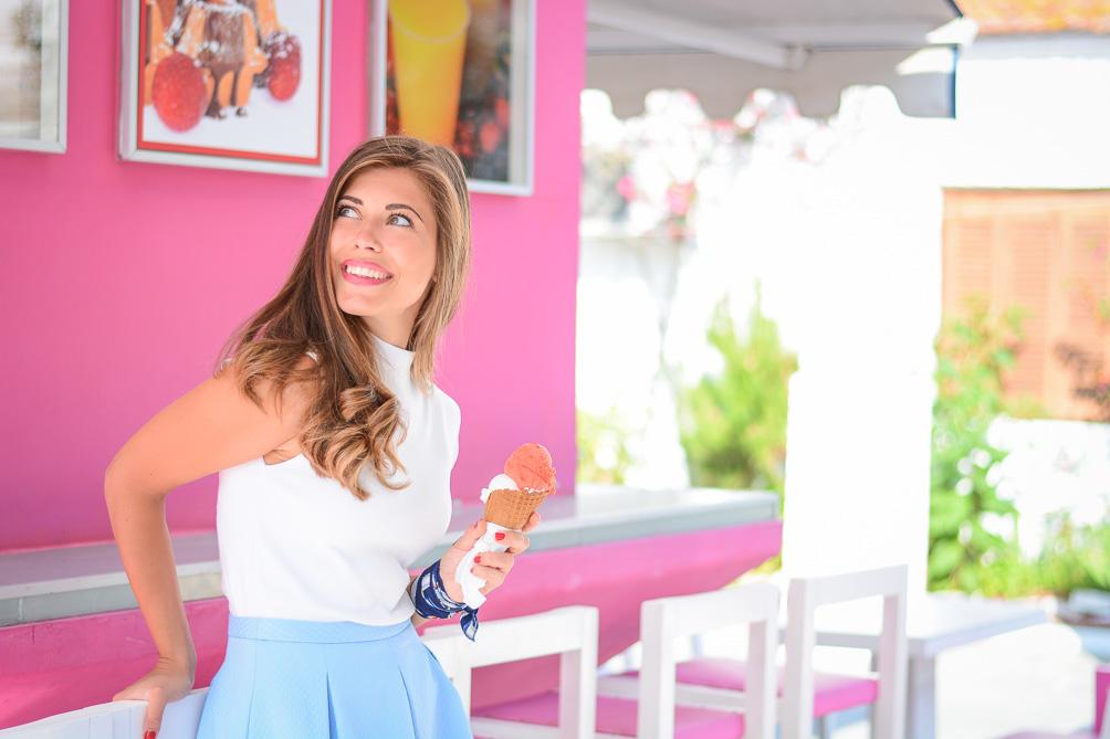 Chic Summer Outfit Blue Skirt Gelato Ice Cream Denina Martin