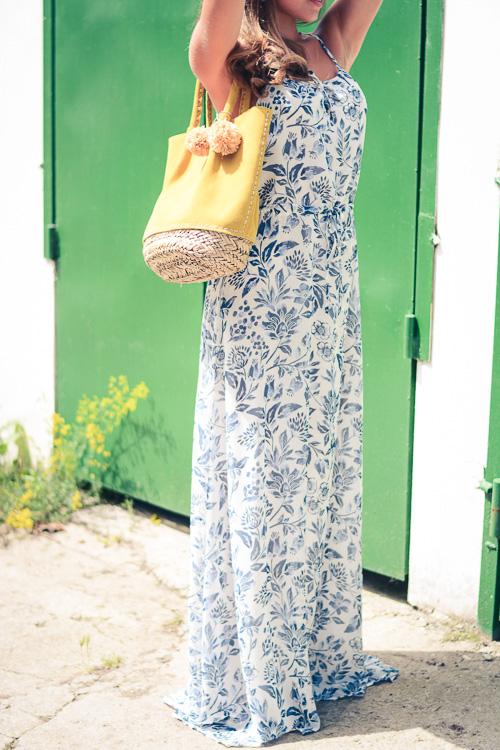 Pepe Jeans London Floral Blue Maxi Dress