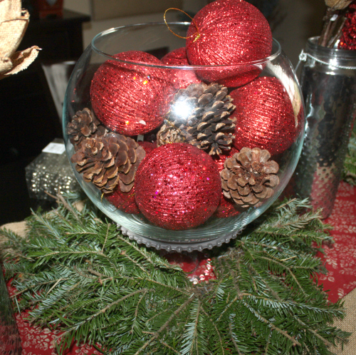 dining table centerpiece Christmas Tablescape