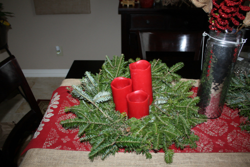 dining table wreaths Christmas Tablescape