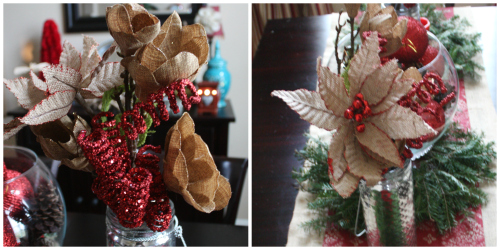 home tour dining flower collage Christmas Tablescape