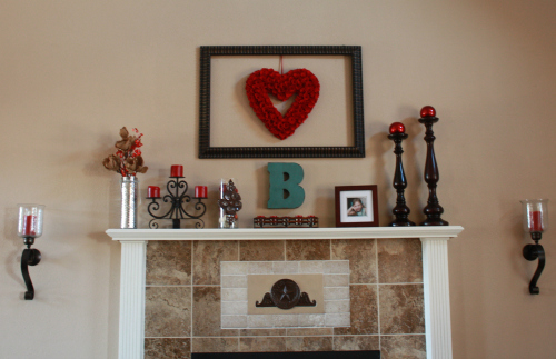 winter valentines mantel