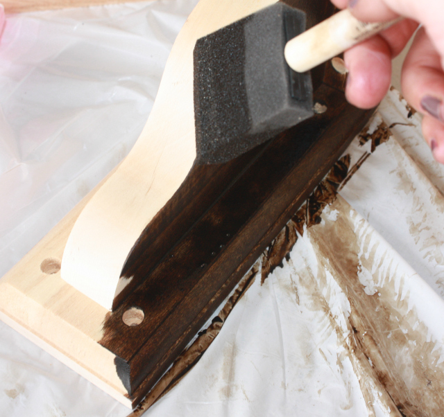 Staining the Corbels for the Floating Wall Vanity