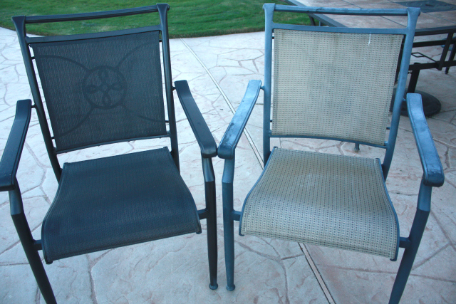 Refreshed Patio Table Chairs Before and After