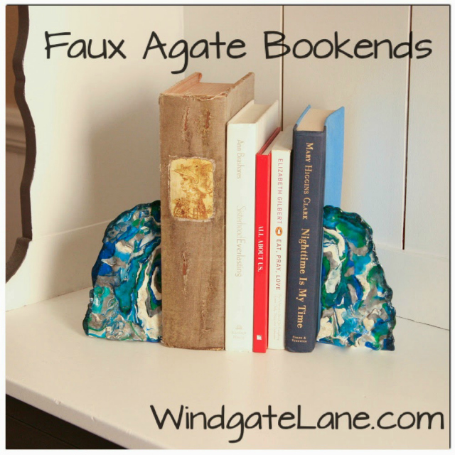 faux agate bookends