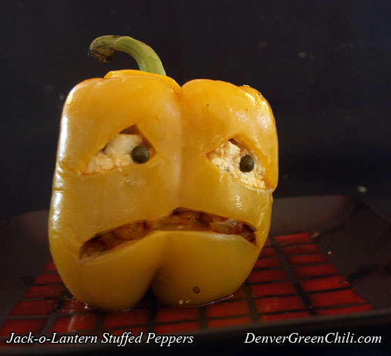 Scared Halloween Stuffed Pepper