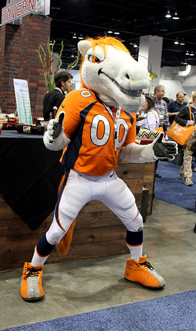 Miles, the official mascot of the Denver Broncos