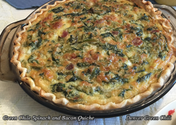 Spinach Green Chili and Bacon Quiche