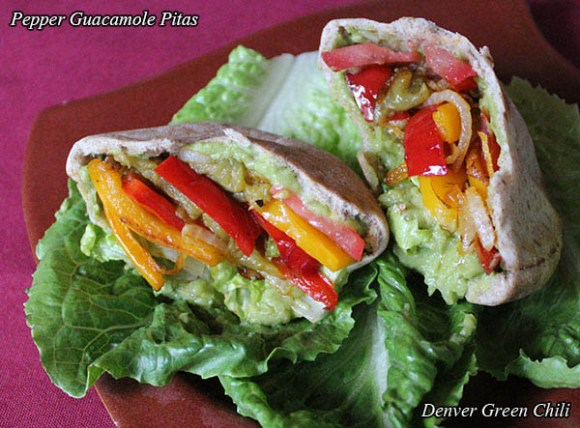 Pepper Guacamole Pitas are super easy, super healthy, and make a satisfying vegetarian lunch. Also perfect for a brunch or party. Just bell peppers, green chiles, onions, guacamole and pitas. Yum!