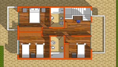 plano planta alta puna de atacama casa de 2 pisos y 3 habitaciones