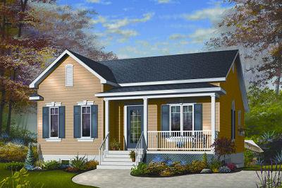 Plano de casa de dos habitaciones y 312 metros cuadrados